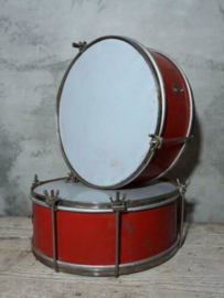 Oude Brocante Rode Trommel Drum