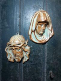 Oude Vintage Plaquette Jezus en Maria Aardewerk