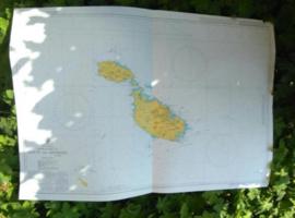 Oude Nautische Zeekaart Malta en Gozo