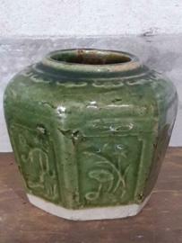 Oude Antiek Shiwan Gemberpot Turquoise Groen