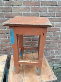 Oude Brocante Vintage Houten Krukje Tafeltje