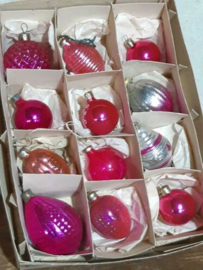 Oude Vintage Kerstballen 5670 Doosje Mix Roze