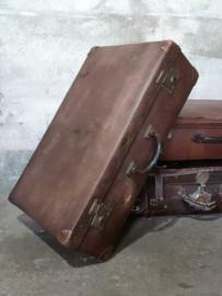 Oude Antiek Vintage Koffer Taupe Bruin