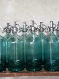 Oude Brocante Zee Blauwe XL Spuitfles Sodafles