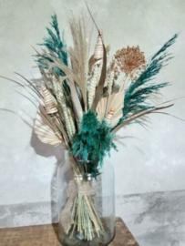 Gemengd Droogboeket Droogbloemen Bos Naturel Turquoise