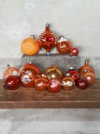 Oude Vintage Kerstballen 7389 Set Russisch Terra Oranje