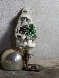 Oude Antieke Kerstbal  2566 Kerstman op Clip