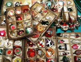 Brocante Oude Antieke Kerstballen & Pieken