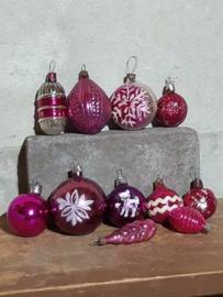 Oude Vintage Kerstballen 5692 Doosje Russische Roze Lila
