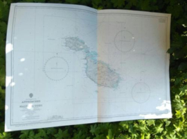 Oude Nautische Zeekaart Middellandse Zee - Gozo en Malta