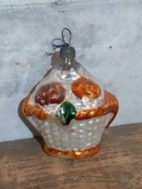 Oude Antieke  Vintage Russisch Kerstbal 4944 Mandje