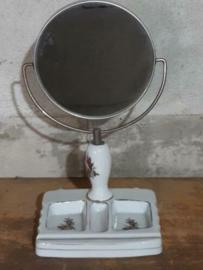Oude Vintage Porseleinen Kapspiegel Spiegel met Ringenbakje