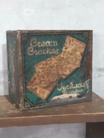 Oud Antieke Verkade Winkelblik Blik Creme Cracker