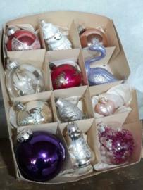 Oude Vintage Kerstballen 3434 Doosje Paars Lila Mix
