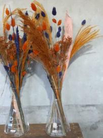 Gemengd Droogboeket Droogbloemen met Vaas Erlenmeyer Blauw Oranje