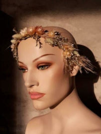 Bruidsboeket van Droogbloemen -Haardiadeem Haarband - Droogboeket