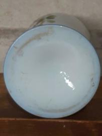 Oude Antieke Opaline Kast of Schouw Vaas Blauw