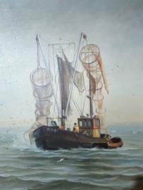 Oud Maritiem Schilderij Olieverf op Linnen Vissersboot Boot Kotter HA67