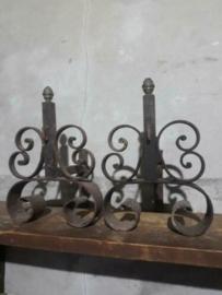 Oude Antiek Brocante Set Vuurbokken Haardvuur