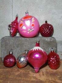 Oude Vintage Kerstballen 5412 Doosje Russische Roze