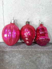Oude Vintage Kerstballen 5340 Doosje Russische Roze