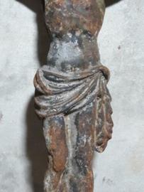 Oude Brocante Antieke Corpus Kruisbeeld Jezus Gietijzer