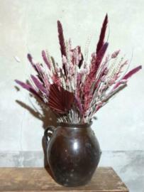 Gemengd DroogBoeket Droogbloemen Bos White Wash Roze en Aubergine