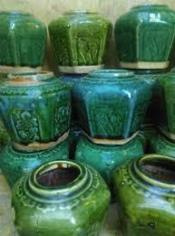 Oud Brocante Gemberpotje Potje Turquoise Groen