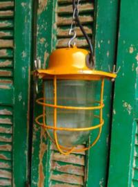 Oude Industriele Bully Hanglamp Lamp Kooilamp Bunkerlamp Oranje