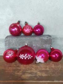Oude Vintage Kerstballen 7392 Set Russisch Roze