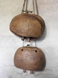 Oude Brocante Houten Koebel Bel India XXL