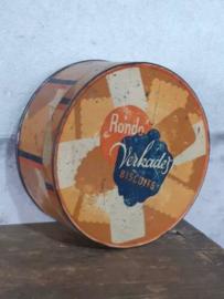 Oud Vintage Verkade Blik Koekblik Rondo's