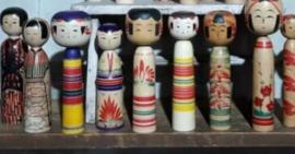 Oude Vintage Kokeshi Dolls Poppen Gelukspop