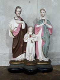 Oude Antiek Beeld Heilige Familie Maria Jezus Jozef