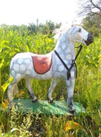 Oud Antiek Paard Papier Mache Frankrijk op Wielen