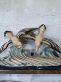 Oud Antiek Art Deco Schouwbeeld Beeld Vogels Meeuwen