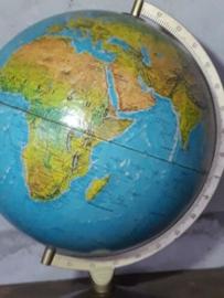 Oude Vintage Wereldbol Globe 1970 Relief