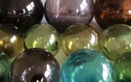 Oude Antiek Vintage Glazen Drijvers Visnetdrijver