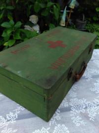 Oude Brocante Vintage VerbandKist Eerste Hulp Rode Kruis Leger 1953