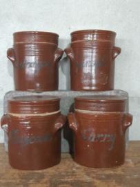Oude Brocante Franse Grespot Pot Aardewerk Kruidenpotjes