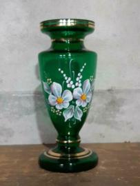 Oud Antiek Boheems Glaswerk Vaas Groen Glas