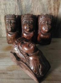 Oude Antiek Houtsnijwerk Kast Oranament Leeuwenkop Set  H23