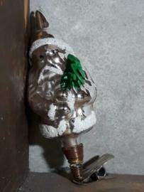 Oude Antieke Kerstbal  2325 Kerstman op Clip