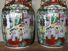 Oude Antiek Vintage Set Chinese Vazen Handbeschilderd