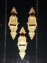 Oud Koperen Sleutelplaatje 10.6x3.5 cm