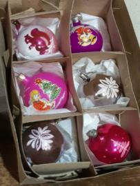 Oude Vintage Kerstballen 5673 Doosje Mix Roze