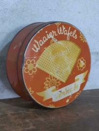 Oud Vintage Verkade Blik Koekblik Waaier Wafels