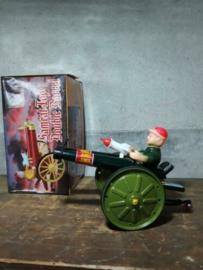 Oud Vintage Blikken Speelgoed - China - Dubbel Kanon Samrat Double Barrel