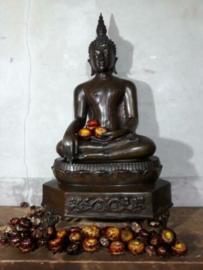 Oude Vintage Bronzen Boeddha Boeddhisme Bhumisparsha