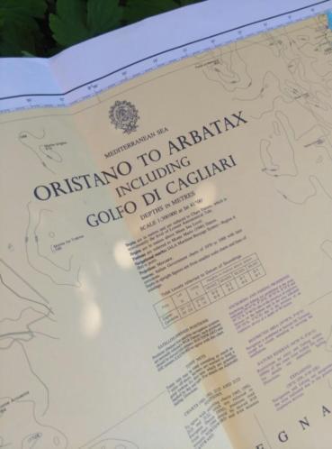 Oude Nautische Zeekaart Golf di Cagliari - Italie